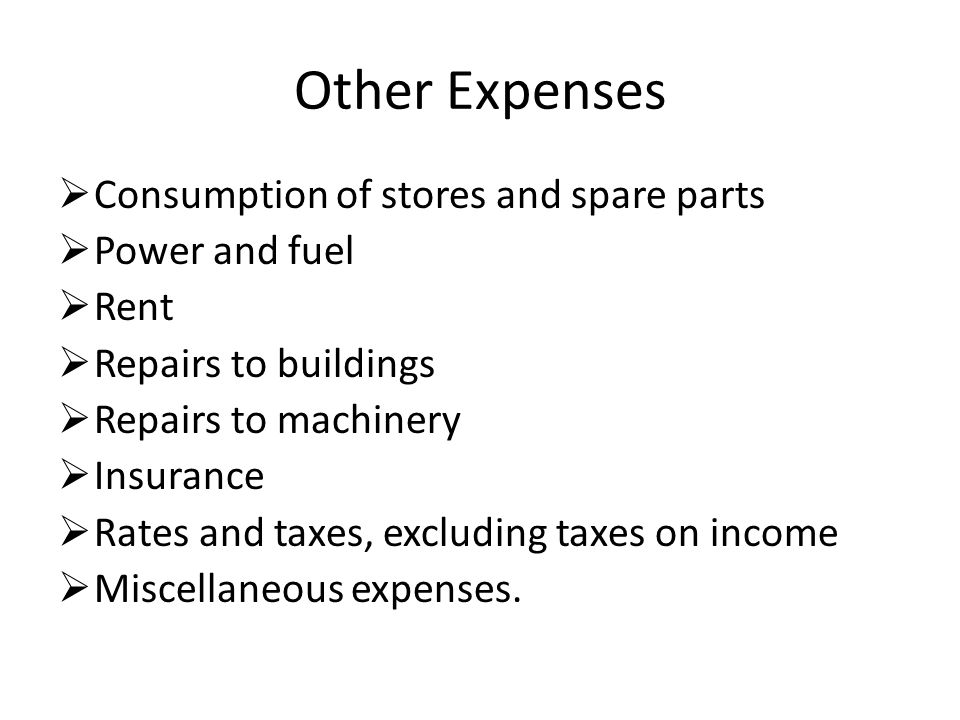 Other Expenses Consumption of stores and spare parts Power and fuel