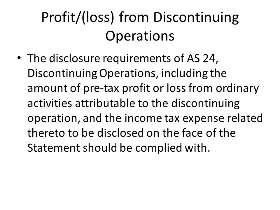 Profit/(loss) from Discontinuing Operations