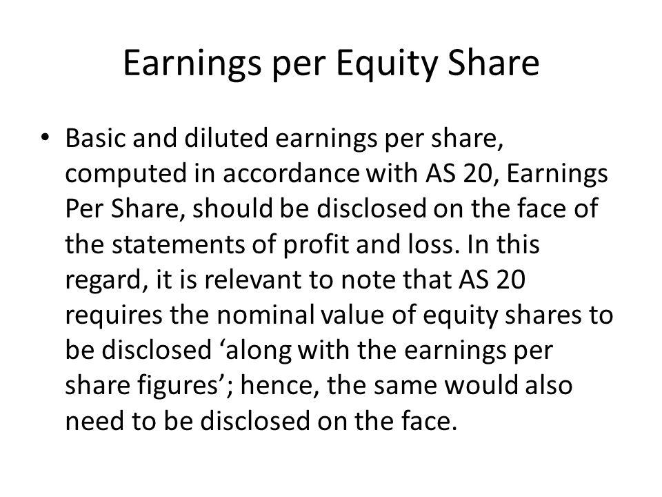 Earnings per Equity Share