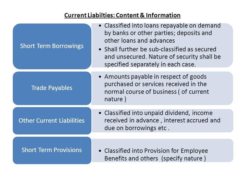 Current Liabilties: Content & Information