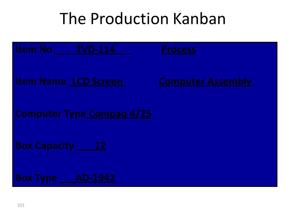 The Production Kanban Item No. TVD-114 Process