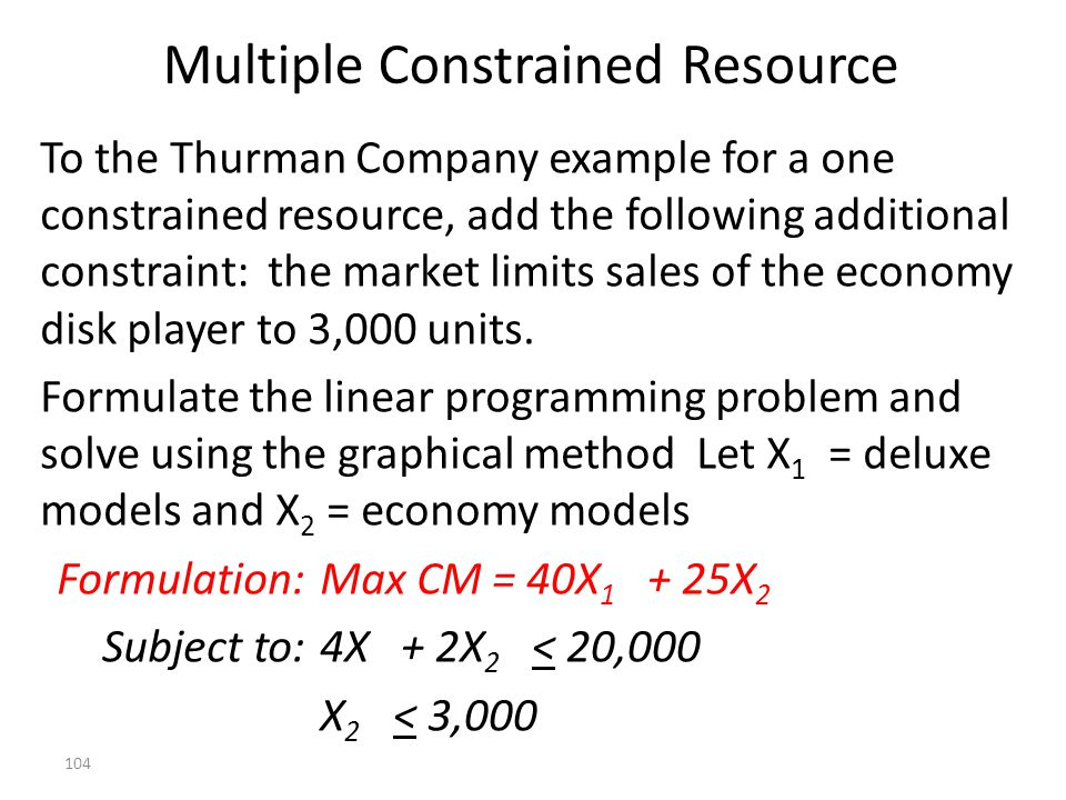 Multiple Constrained Resource