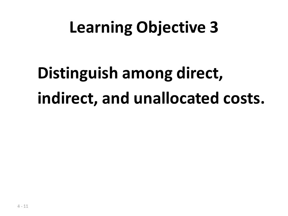 Learning Objective 3 Distinguish among direct, indirect, and unallocated costs.