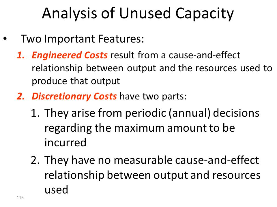 Analysis of Unused Capacity