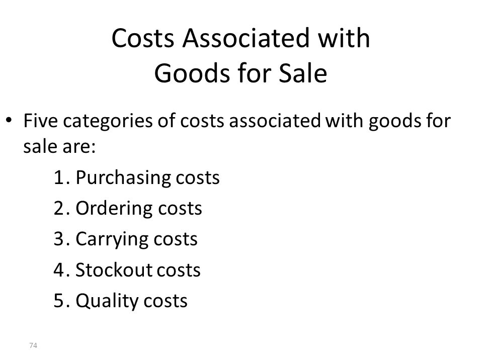 Costs Associated with Goods for Sale