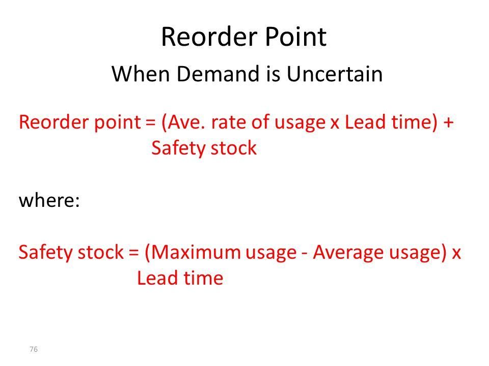 Reorder Point When Demand is Uncertain