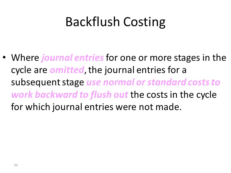 Backflush Costing