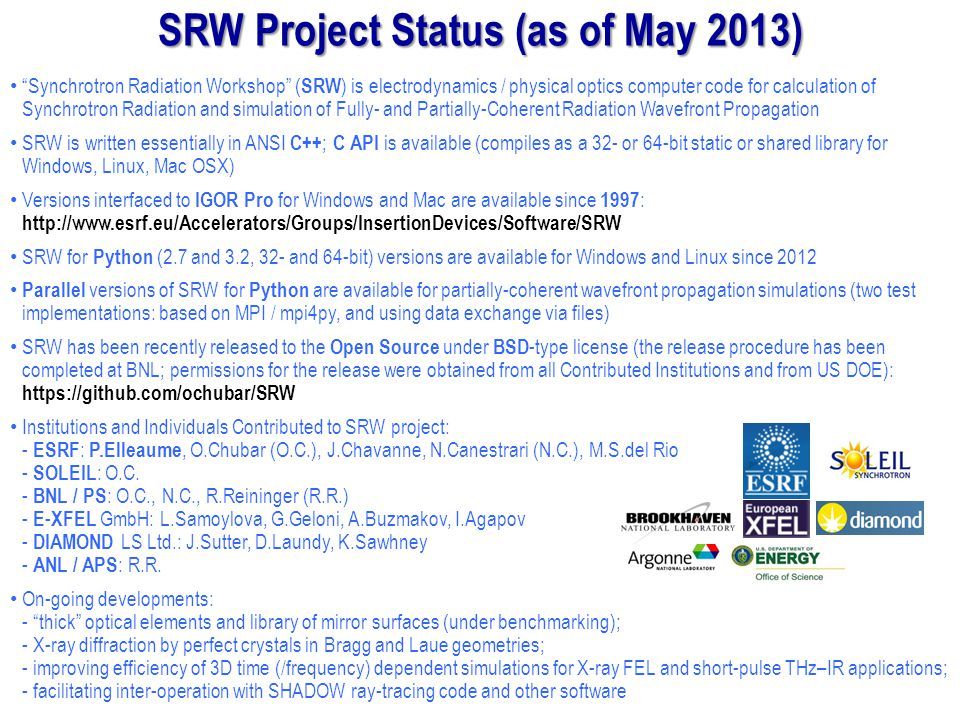 SRW Project Status (as of May 2013)