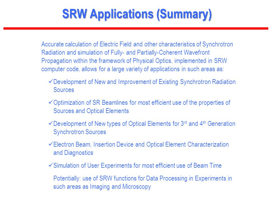 SRW Applications (Summary)