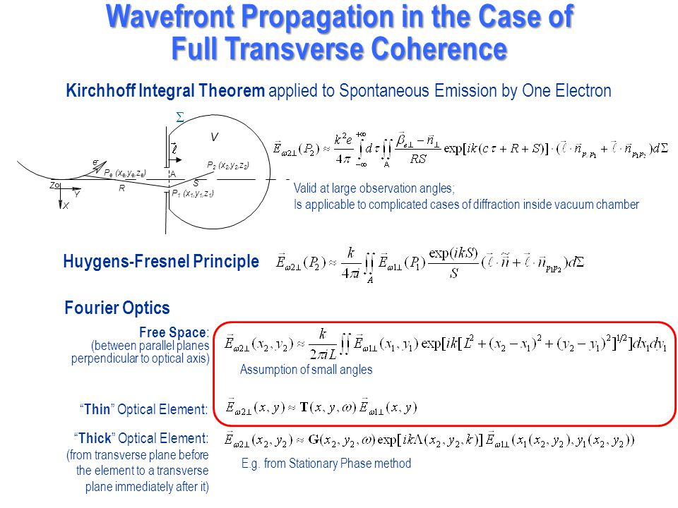 Wavefront Propagation in the Case of Full Transverse Coherence