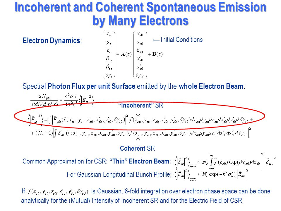 Incoherent and Coherent Spontaneous Emission by Many Electrons
