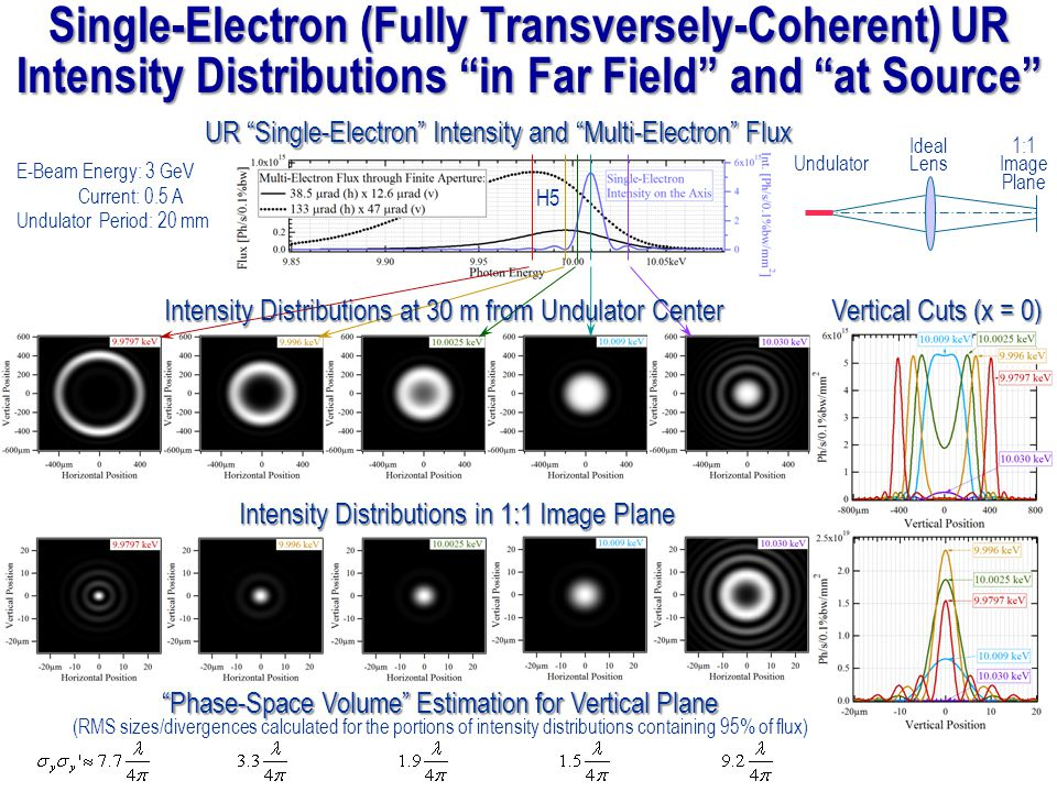 Single-Electron (Fully Transversely-Coherent) UR Intensity Distributions in Far Field and at Source