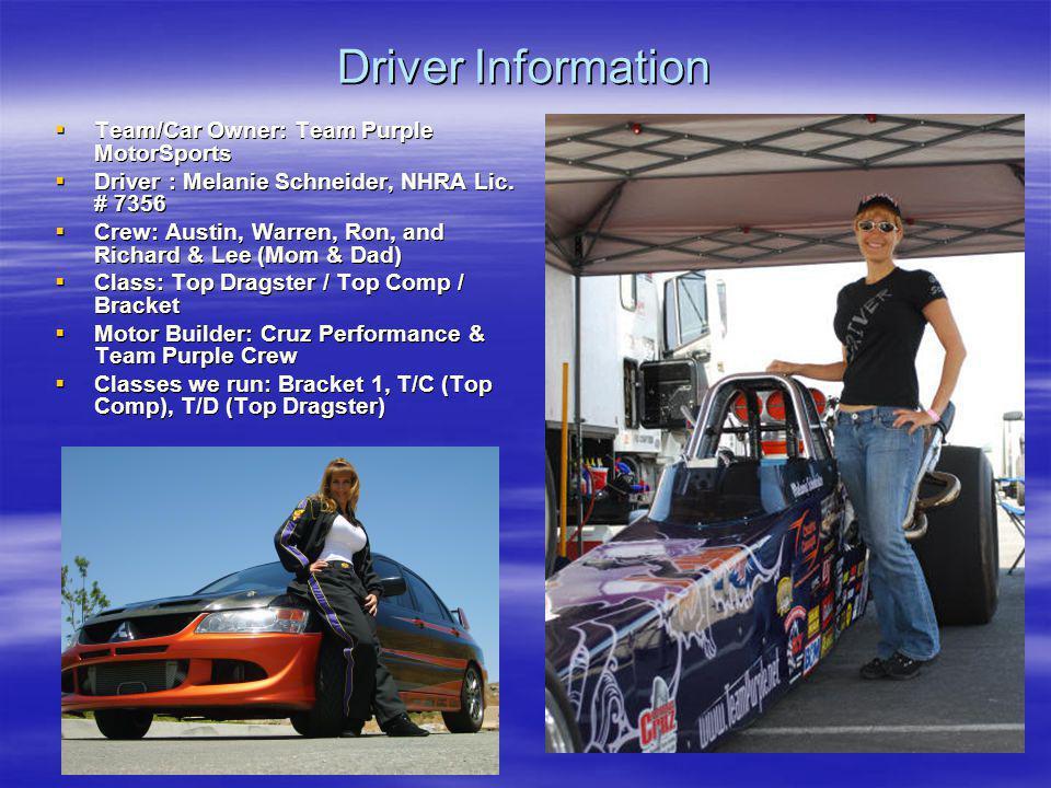 Driver Information Team/Car Owner: Team Purple MotorSports