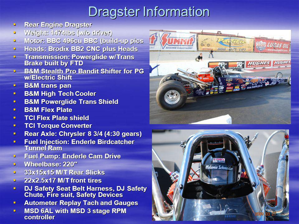 Dragster Information Rear Engine Dragster Weight: 1474lbs (w/o driver)