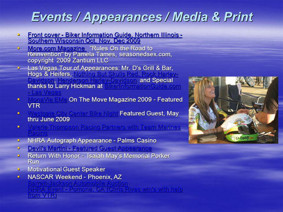 Events / Appearances / Media & Print