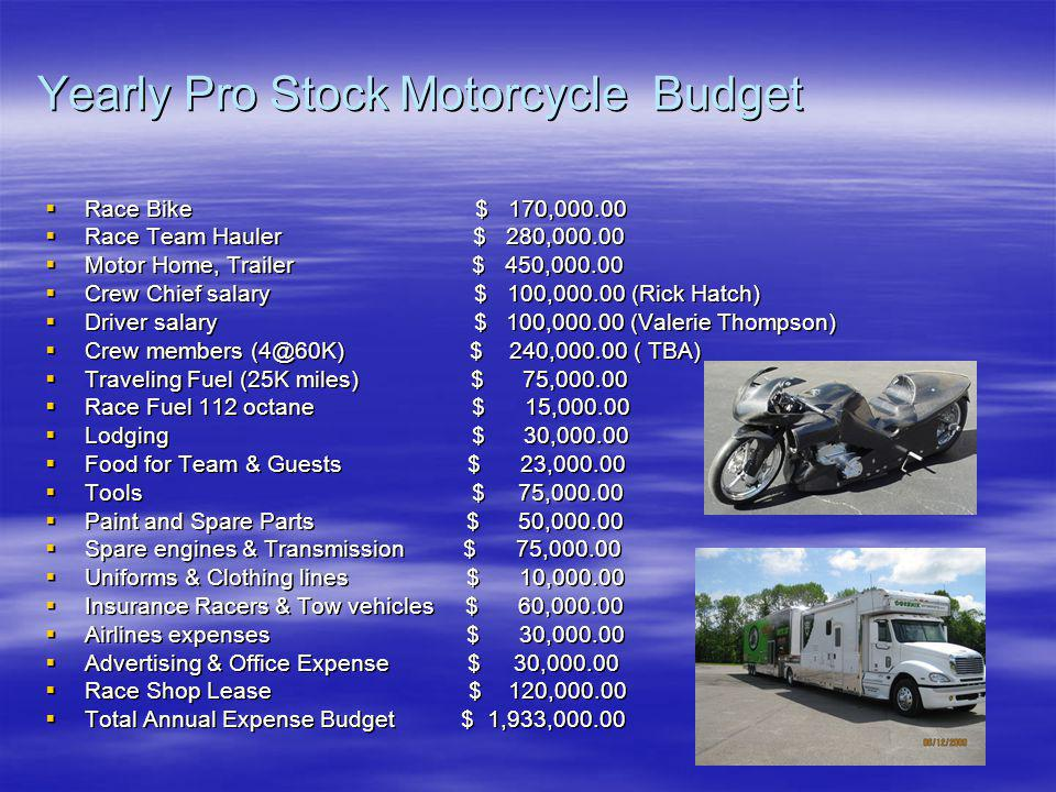 Yearly Pro Stock Motorcycle Budget