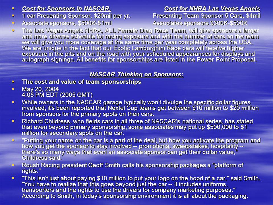 NASCAR Thinking on Sponsors: