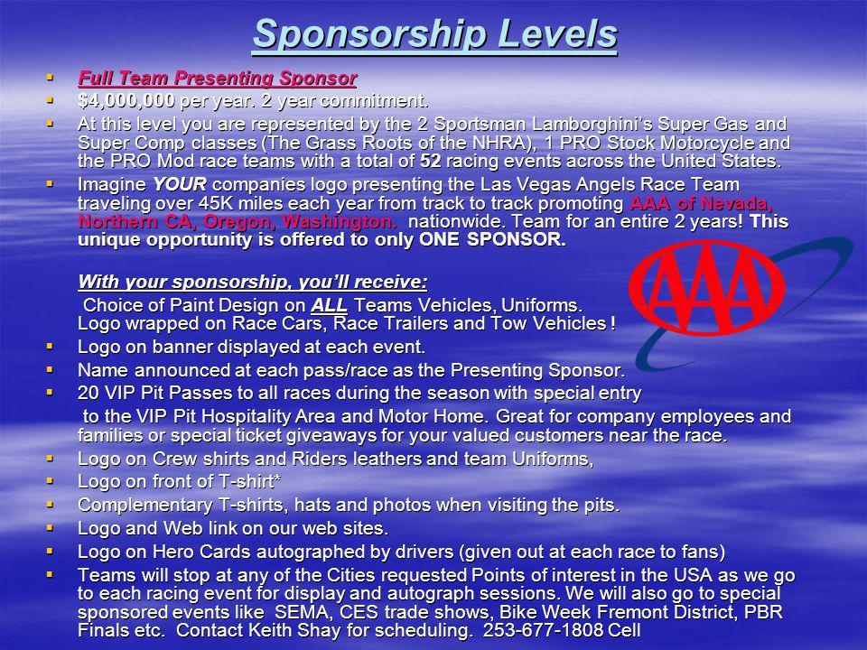 Sponsorship Levels Full Team Presenting Sponsor