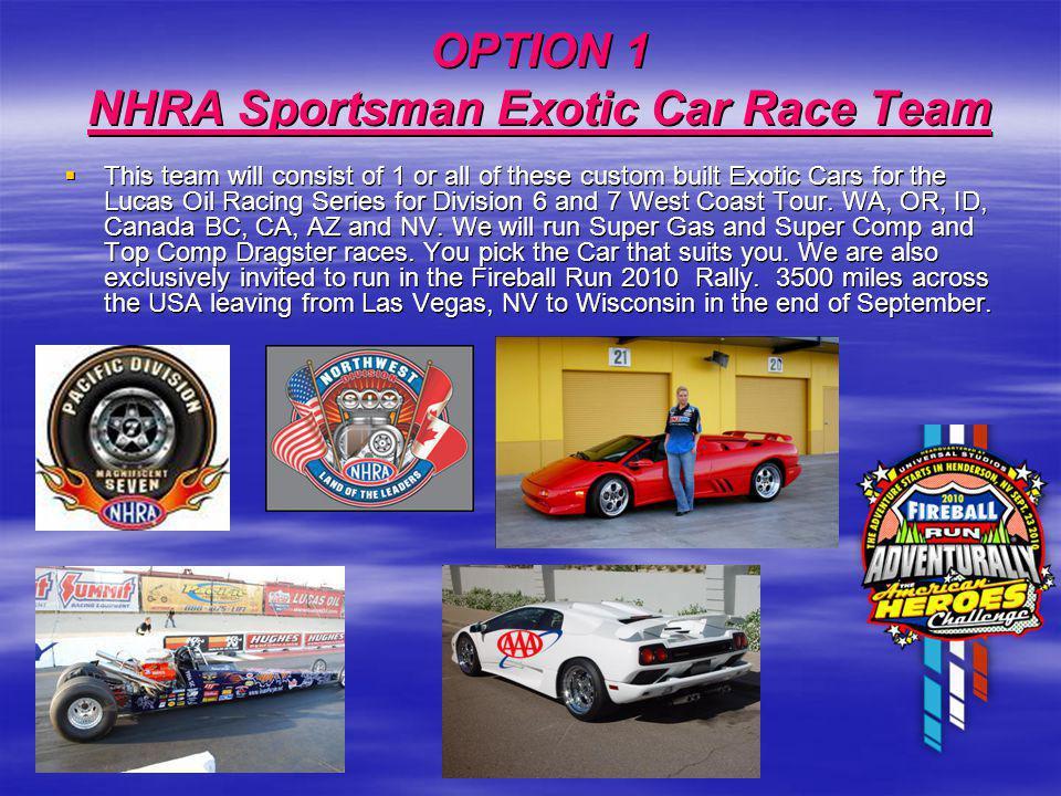 OPTION 1 NHRA Sportsman Exotic Car Race Team