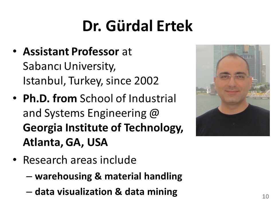 Dr. Gürdal Ertek Assistant Professor at Sabancı University, Istanbul, Turkey, since 2002.