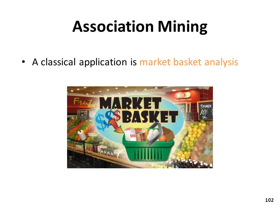 Association Mining A classical application is market basket analysis