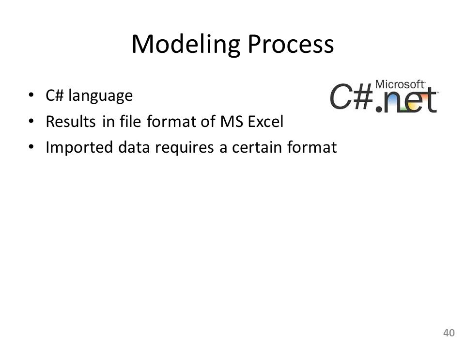 Modeling Process C# language Results in file format of MS Excel