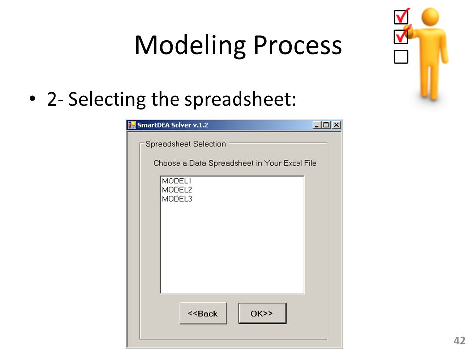 Modeling Process 2- Selecting the spreadsheet:
