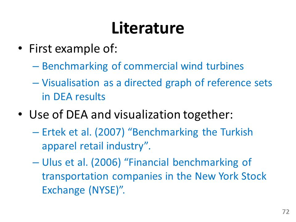 Literature First example of: Use of DEA and visualization together: