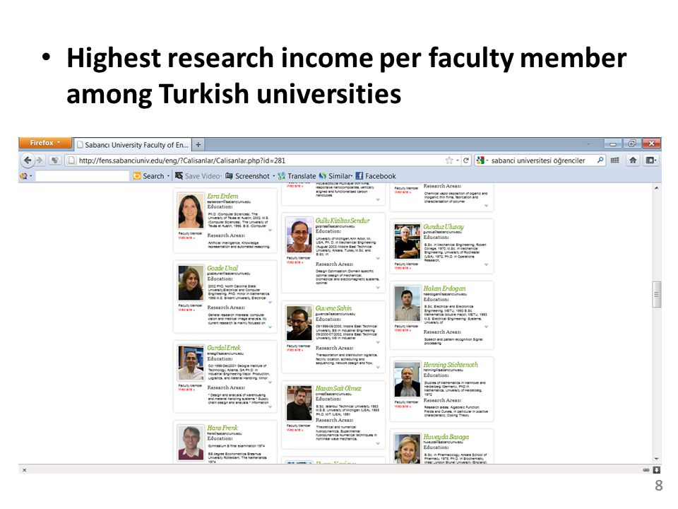 Highest research income per faculty member among Turkish universities