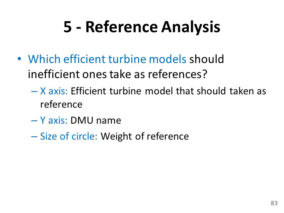 5 - Reference Analysis Which efficient turbine models should inefficient ones take as references