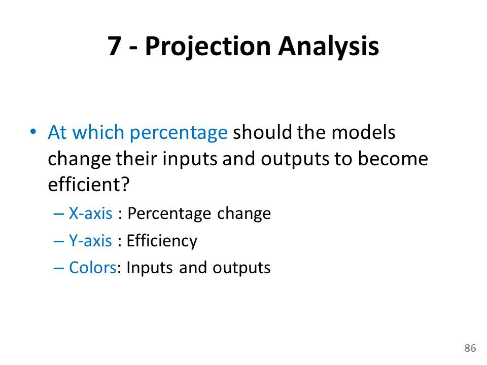 7 - Projection Analysis At which percentage should the models change their inputs and outputs to become efficient