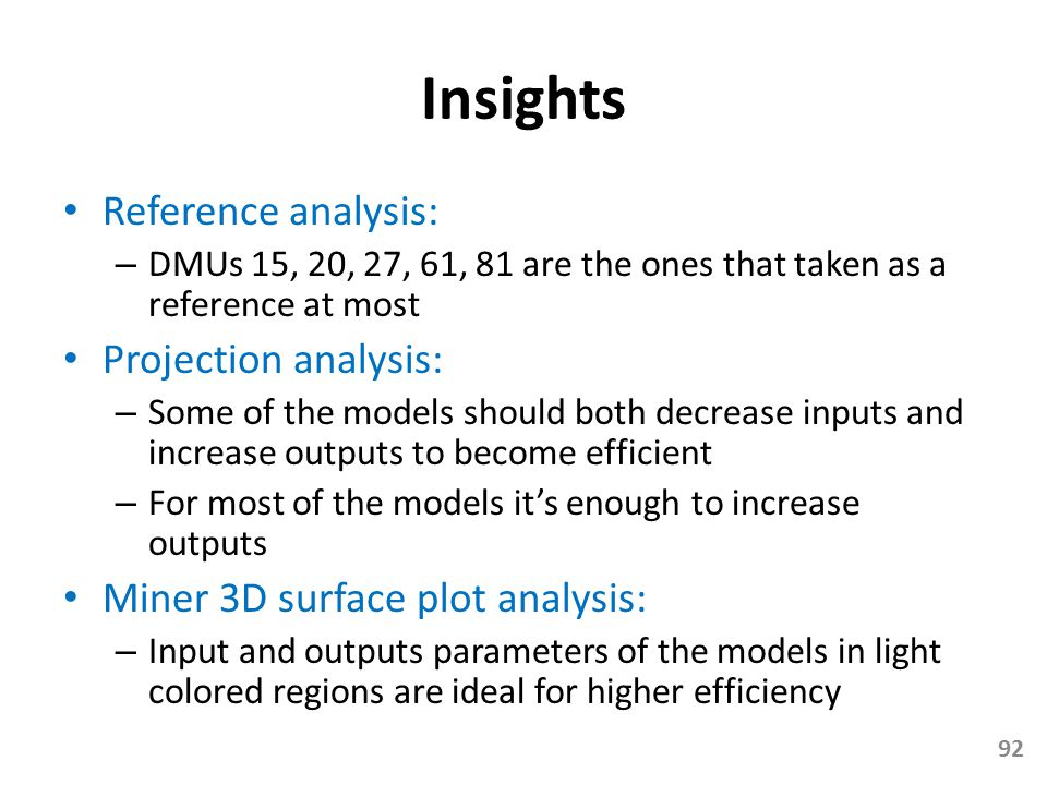 Insights Reference analysis: Projection analysis: