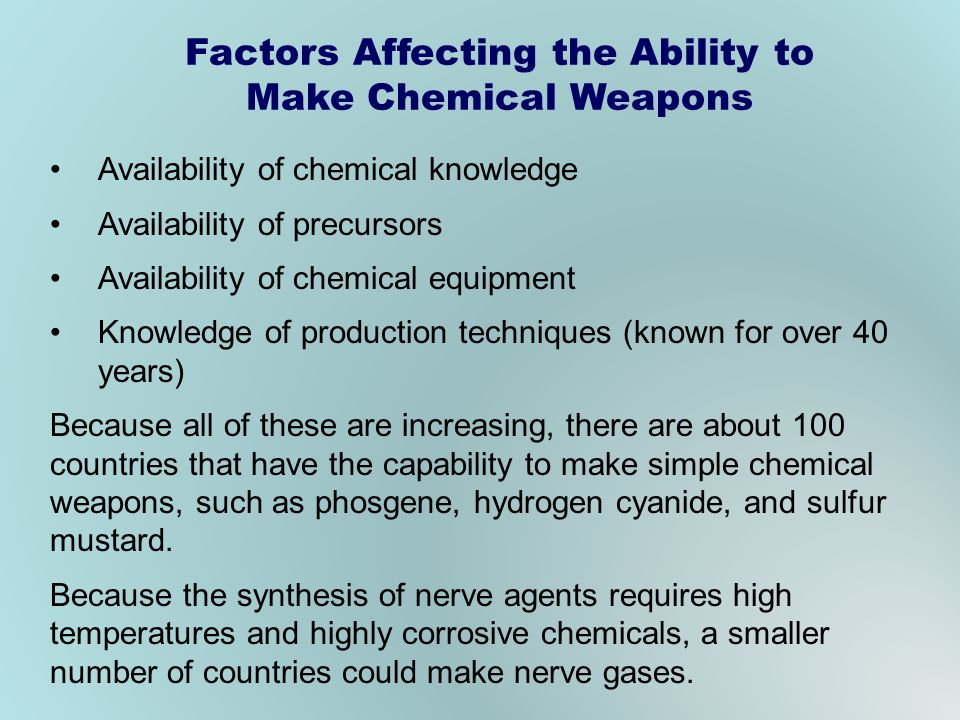 Factors Affecting the Ability to Make Chemical Weapons