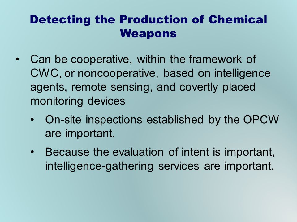 Detecting the Production of Chemical Weapons