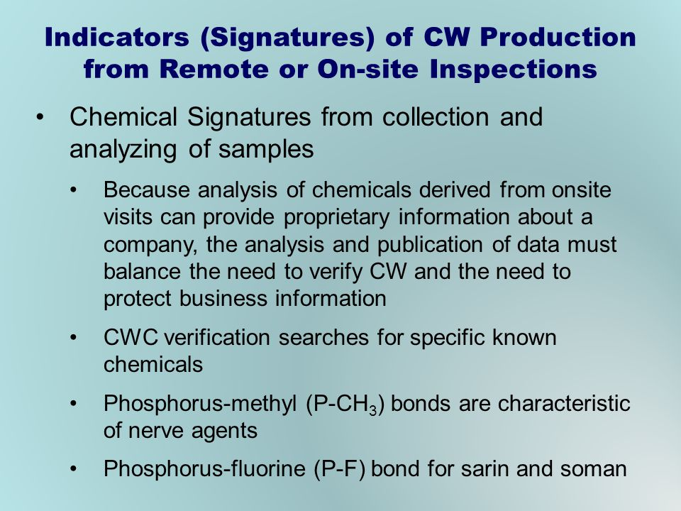 Chemical Signatures from collection and analyzing of samples