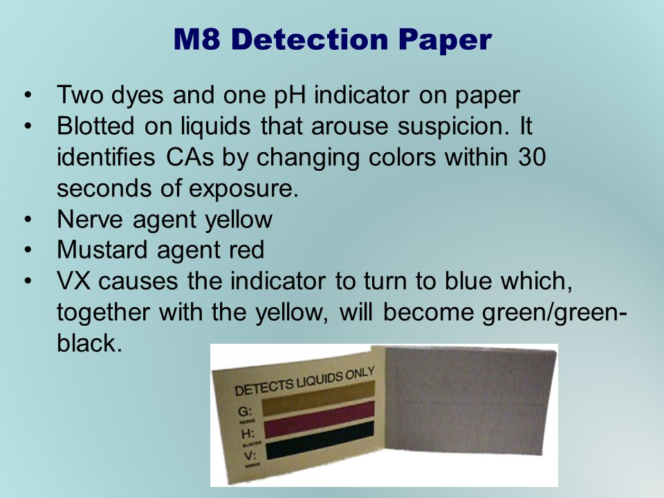 M8 Detection Paper Two dyes and one pH indicator on paper