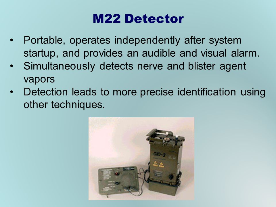 M22 Detector Portable, operates independently after system startup, and provides an audible and visual alarm.