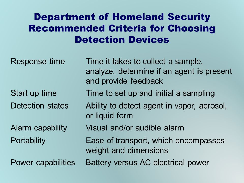 Department of Homeland Security Recommended Criteria for Choosing Detection Devices