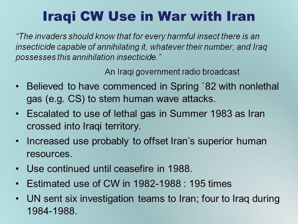 Iraqi CW Use in War with Iran