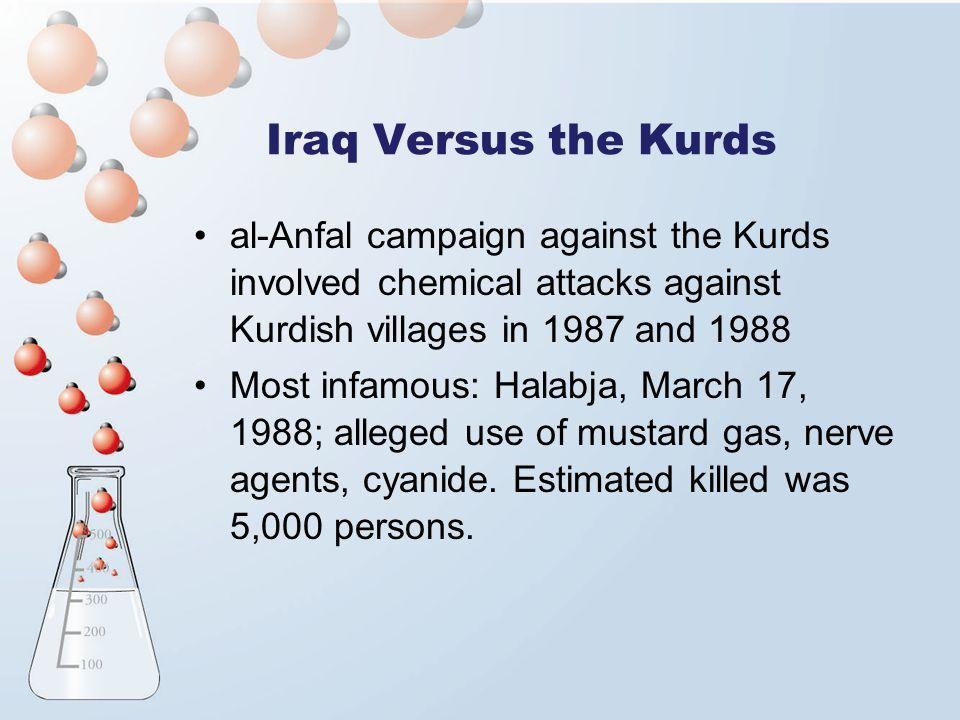 Iraq Versus the Kurds al-Anfal campaign against the Kurds involved chemical attacks against Kurdish villages in 1987 and 1988.
