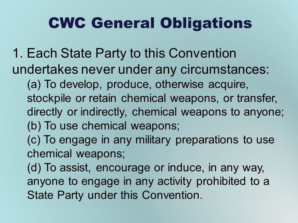 CWC General Obligations