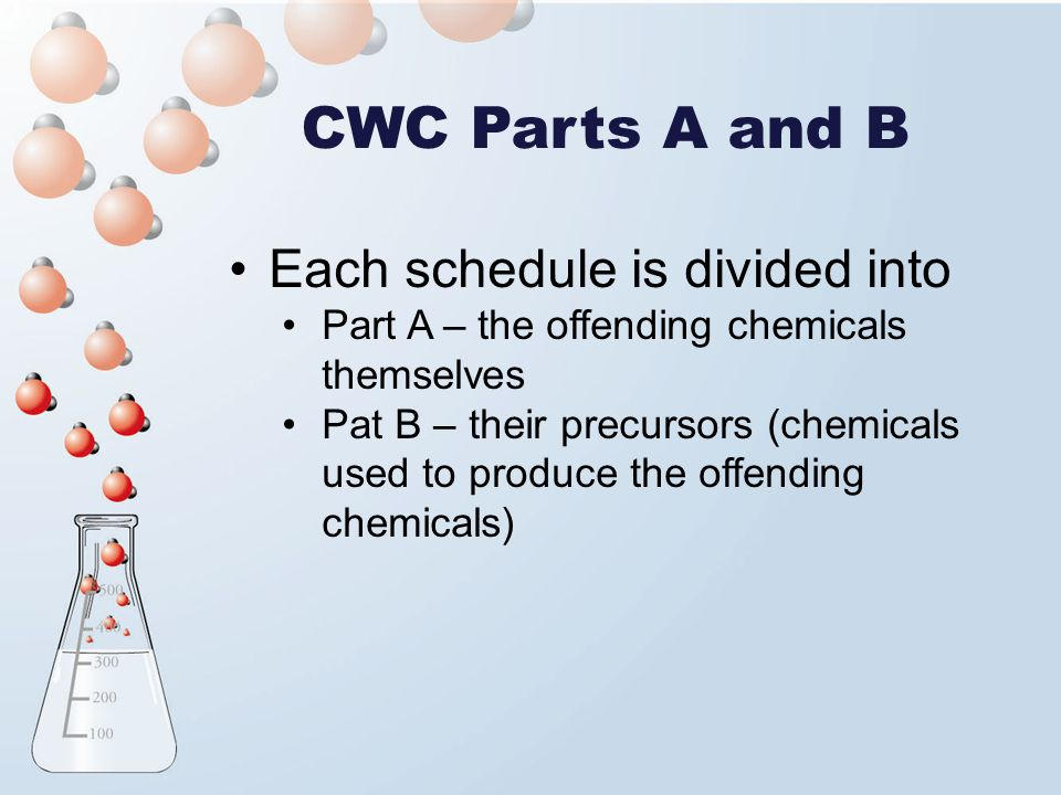 CWC Parts A and B Each schedule is divided into