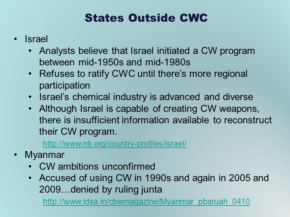 States Outside CWC Israel