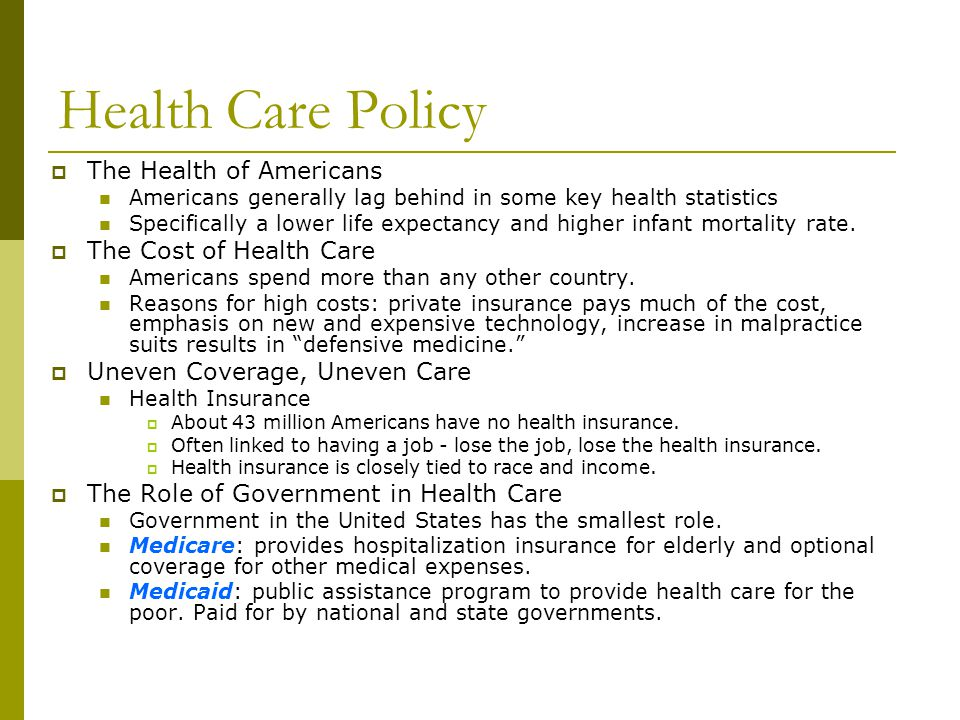 Health Care Policy The Health of Americans The Cost of Health Care