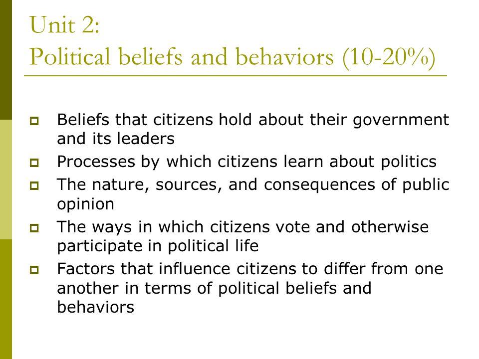 Unit 2: Political beliefs and behaviors (10-20%)