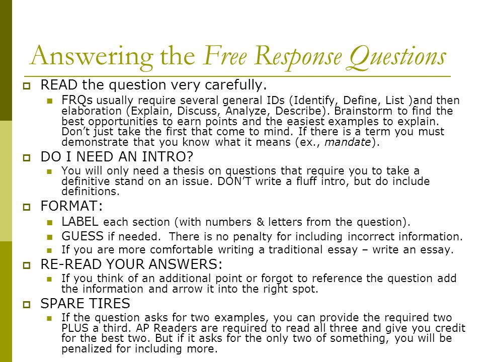 Answering the Free Response Questions