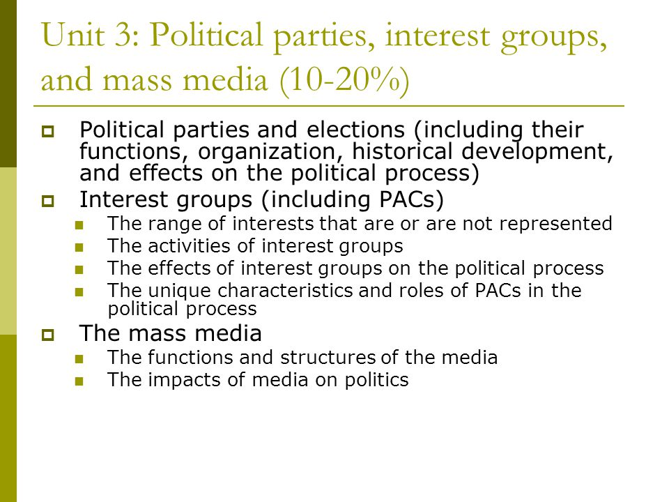 Unit 3: Political parties, interest groups, and mass media (10-20%)