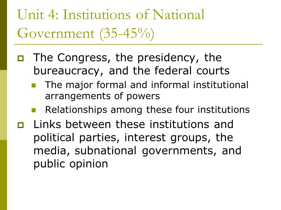 Unit 4: Institutions of National Government (35-45%)