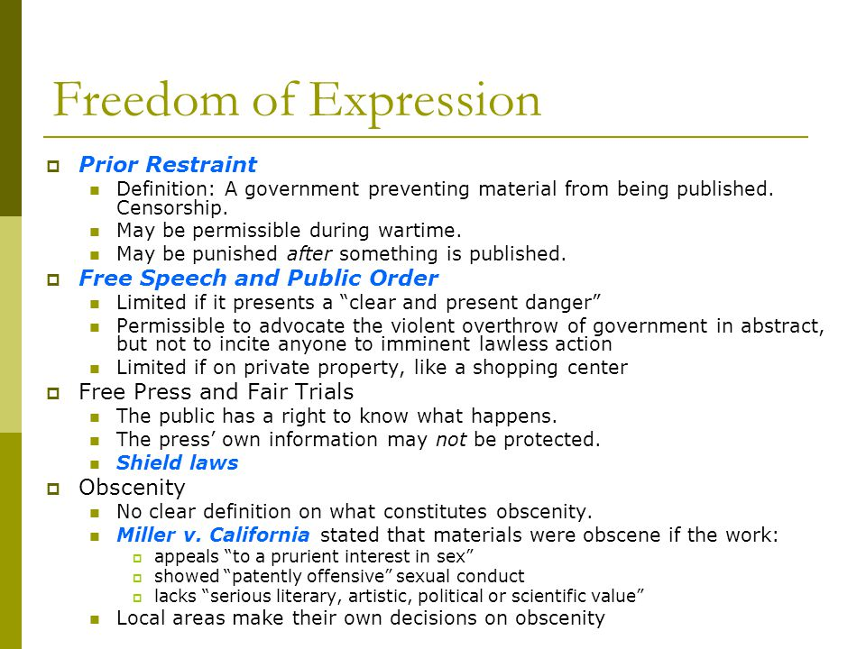 Freedom of Expression Prior Restraint Free Speech and Public Order