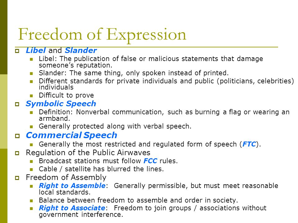 Freedom of Expression Commercial Speech Libel and Slander